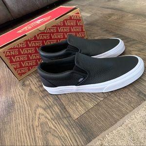Vans classic dx black leather slip on shoes